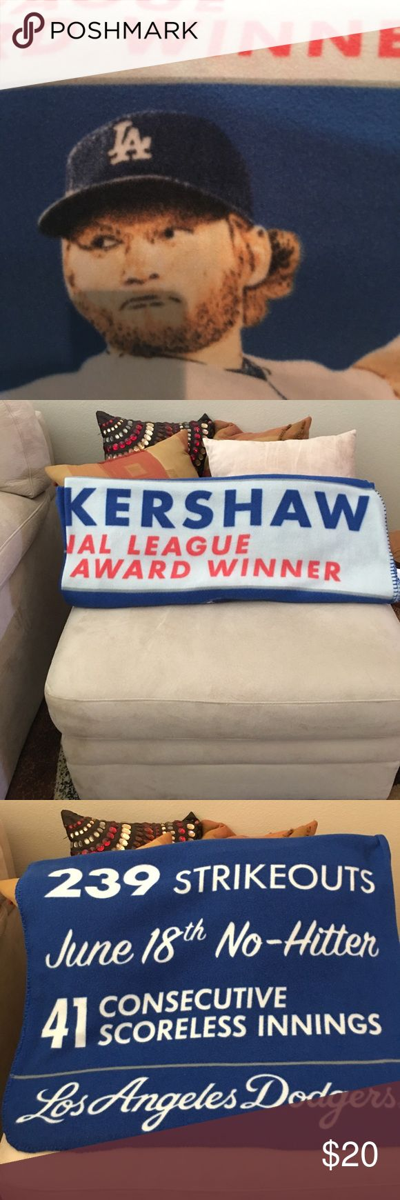 L A  Dodger Clayton Kershaw Throw Blanket Stats of the Pitcher on it. NWOT Success Promotions Other