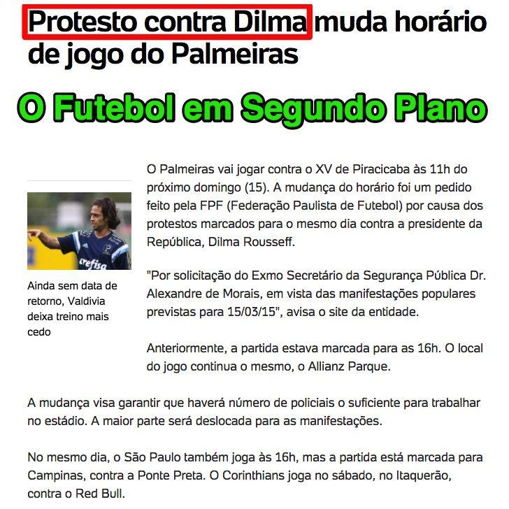 O Futebol em Segundo Plano ➤ http://esporte.uol.com.br/futebol/campeonatos/paulista/ultimas-noticias/2015/03/09/protesto-contra-dilma-muda-horario-de-jogo-do-palmeiras.htm ②⓪①⑤ ⓪③ ①⓪ #Impeachment