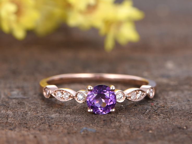 0.5 Carat Round Amethyst Diamond Engagement Ring 14k Rose Gold Art Deco Milgrain Stacking Band