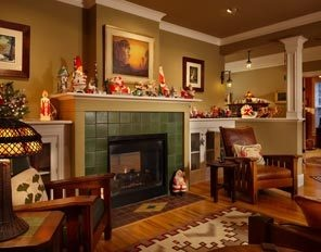 Craftsman style home decorated for christmas.
