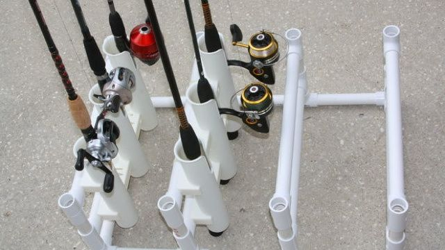 Store Multiple Fishing Rods with a DIY PVC Organizer // Maybe mount sideways with heavy-duty magnets for the inside of the garage door. Must noodle further.
