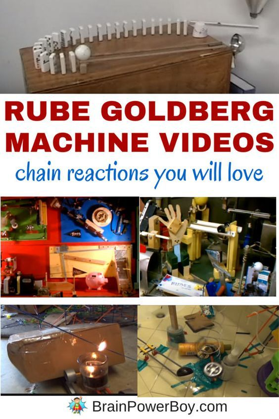 Inspiring Rube Goldberg Machine™ videos you don't want to miss. See teen boys create 6 machines, an awesome food-based machine, an incredible domino chain reaction and a Rube Goldberg Machine™ that took over 5000 hours to build and more!