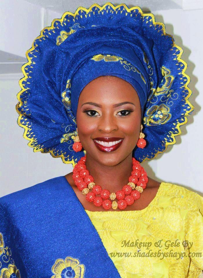 blue and yellow Nigerian Traditional Wedding Pinterest