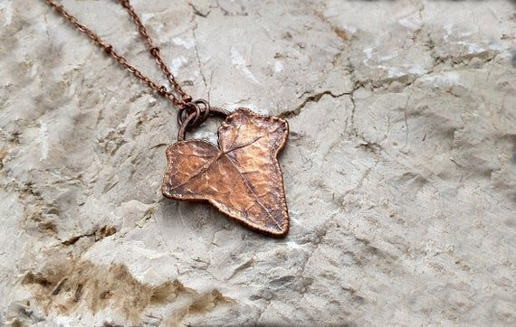 Oxidized copper necklace electroplating leaf pendant womens gift for wife nature jewelry best friend gift ideas Gardening gift