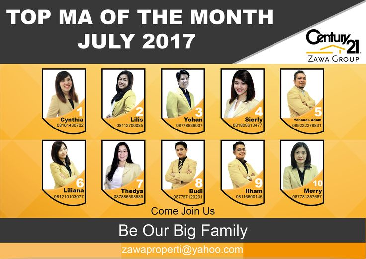 "TOP MA OF THE MONTH CENTURY 21 ZAWA GROUP ""JULY 2017"""