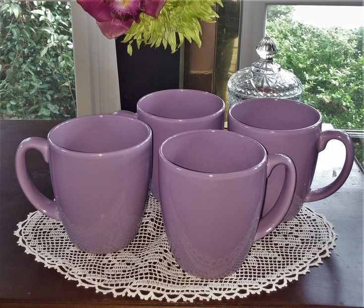 4 Purple Cups, Corelle Ware, Corelle Living ware, Lavender Dishes, Lavender, Bistro Cups, Coffee Mug, Tea Cup, Retro Mugs, Stoneware, Taupe by MillysAtticTreasures on Etsy