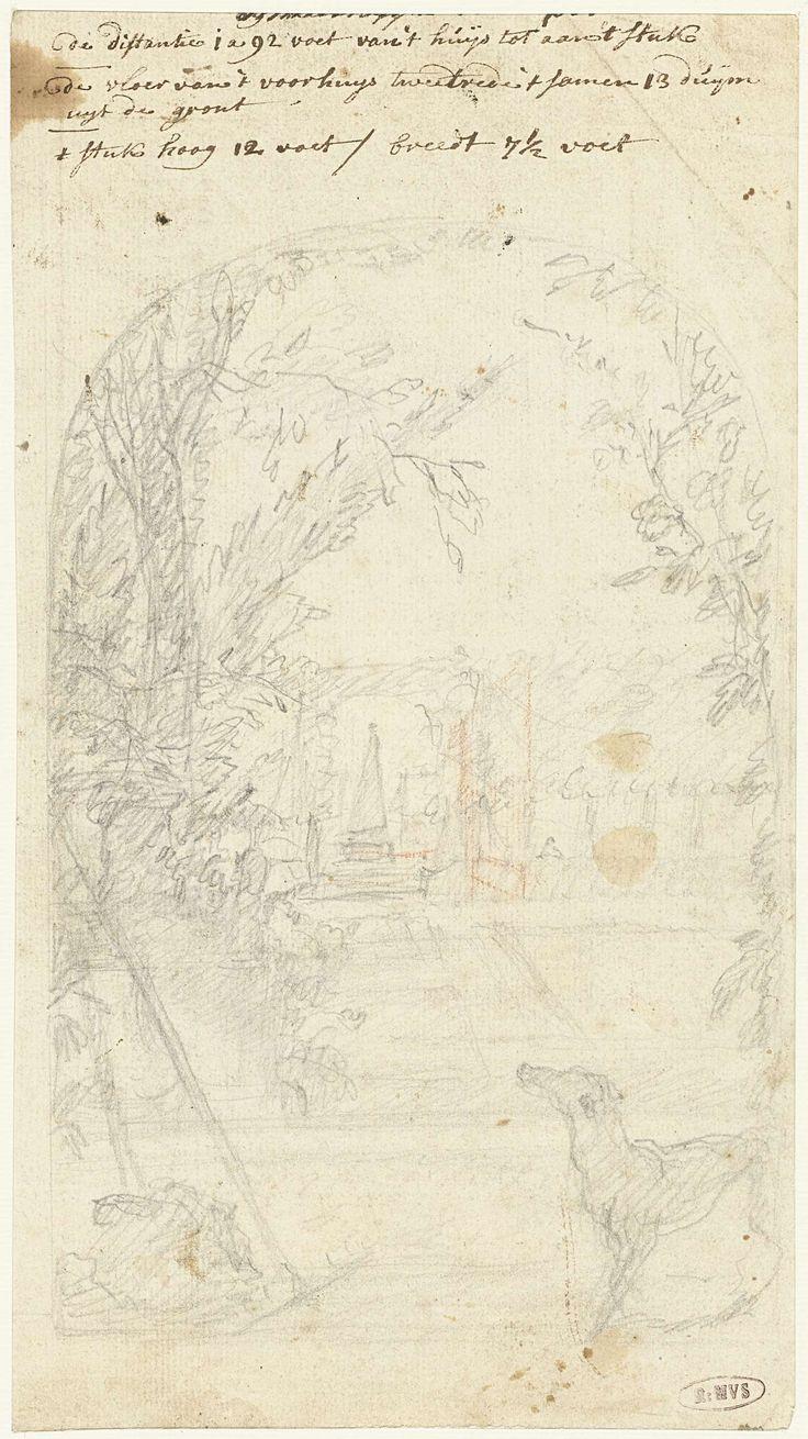 anoniem   Ontwerp voor een tuingezicht met een hond en tuingereedschap, possibly Dionys van Nijmegen, 1715 - 1798   Ontwerp voor een schildering.