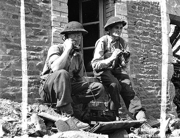 Canadians at Falaise - Canadian officers directing mortar fire. August 9, 1944, May-sur-Orne, France.