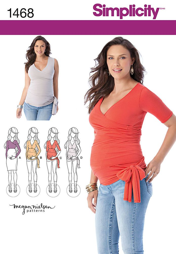 """maternity top in knit wraps around to accommodate all sizes & stages of pregnancy. sleeves can be at elbow, long or sleeveless. v. a is cropped with long sleeves...great for layering. simplicity pattern by megan nielsen.<p> </p><img src=""""skins/skin_1/images/icon-printer.gif"""" alt=""""printable pattern"""" /> <a href=""""#"""" onclick=""""toggle_visibility('foo');"""">printable pattern terms of sale</a> <div id=""""foo"""" style=""""display:none; margin-top: 10px;"""">digital patterns are tiled and labeled so ..."""
