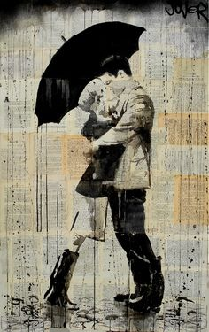 """Saatchi Online Artist Loui Jover; Drawing, """"black umbrella""""   Love this! It looks like a pic of us in Seattle :)"""