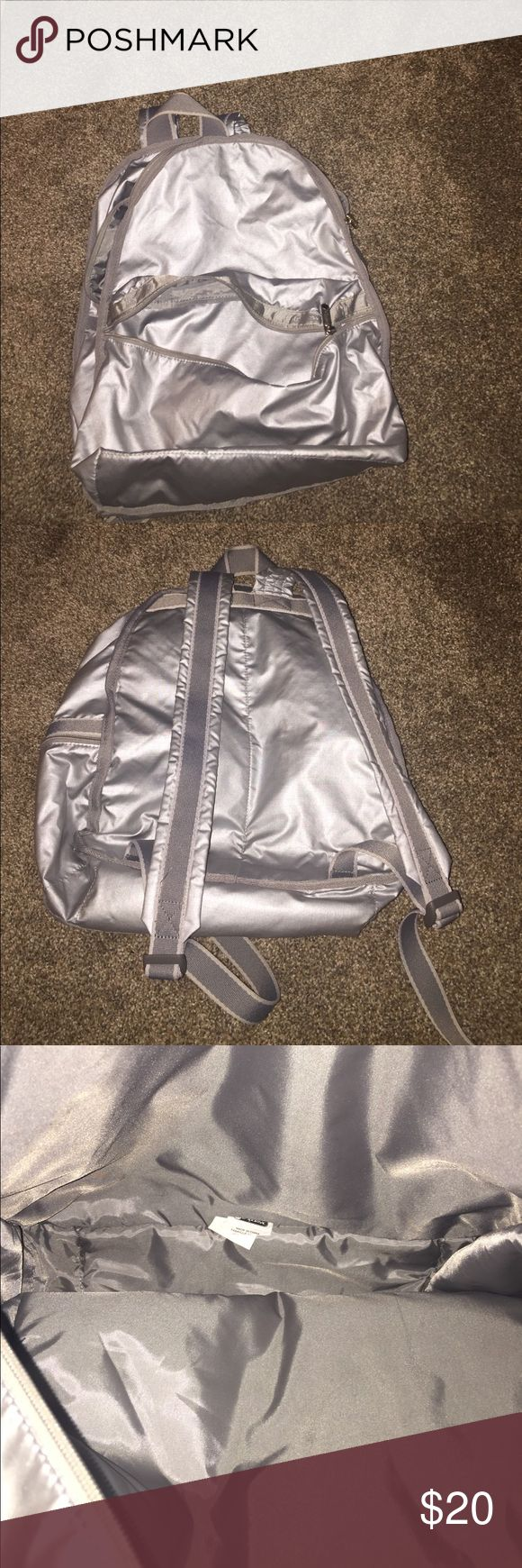 Silver LeSportsac Backpack Silver backpack. Great for kids. Machine washable. Lesportsac Bags Backpacks