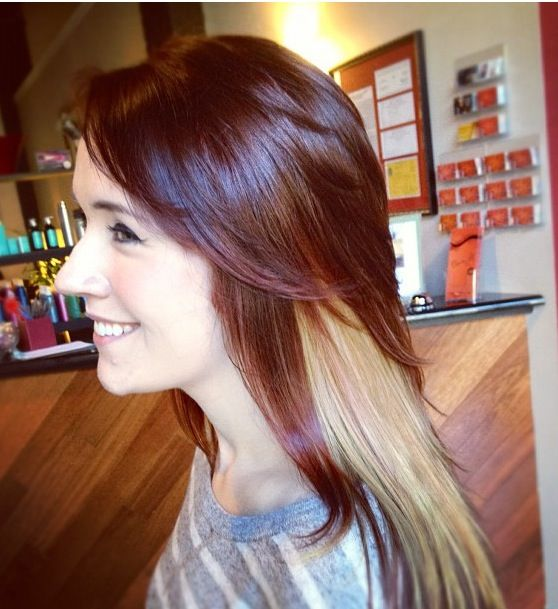 Red hair with blonde color block. | Flip your hair ...