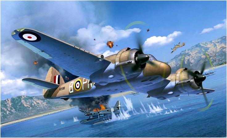 Bristol Beaufighter Mk.IF destroys an Fiat RS 14 of the Regia Marina. By Egbert Friedl