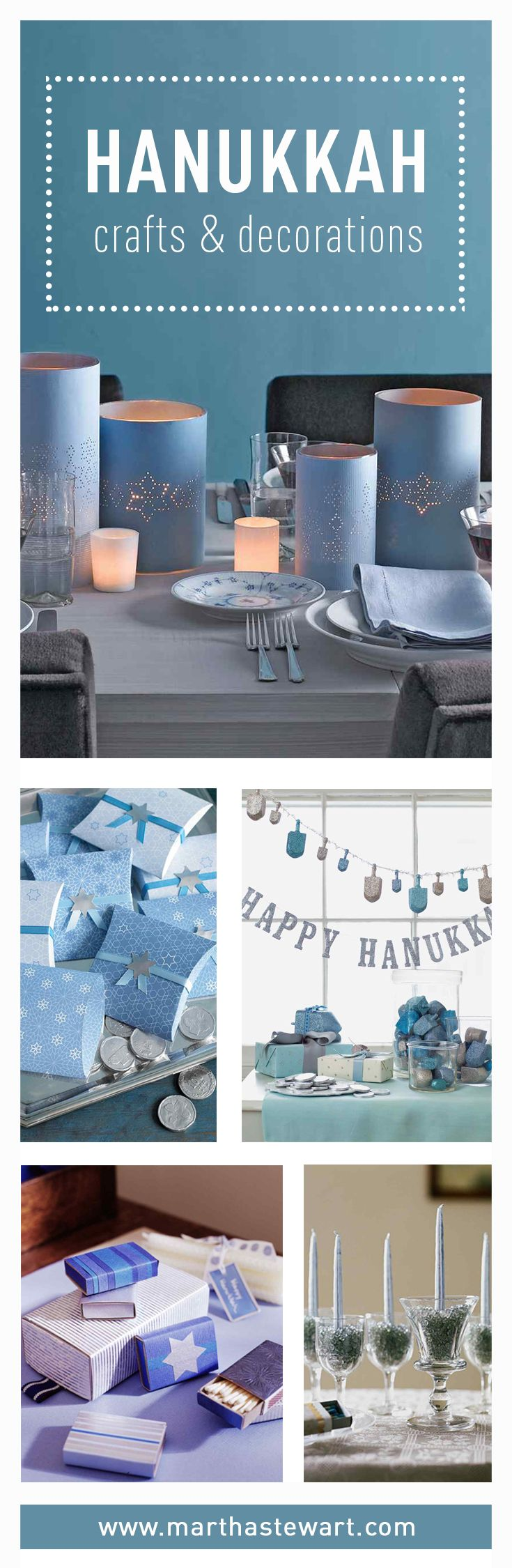 Celebrate Hanukkah with our inspired crafts, gift wrap, favors, and decorations, including dreidels and menorahs. These ideas will help make all eight nights sparkle.