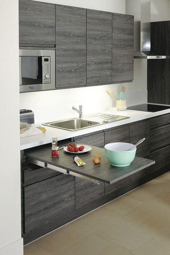 Versteckter ausziehbarer Tisch, 1 Meter lang, Pure Kitchen, aus grauer Eiche