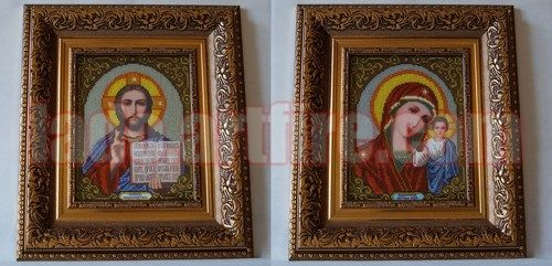Wedding Pair orthodox Christian beaded embroidered two icons