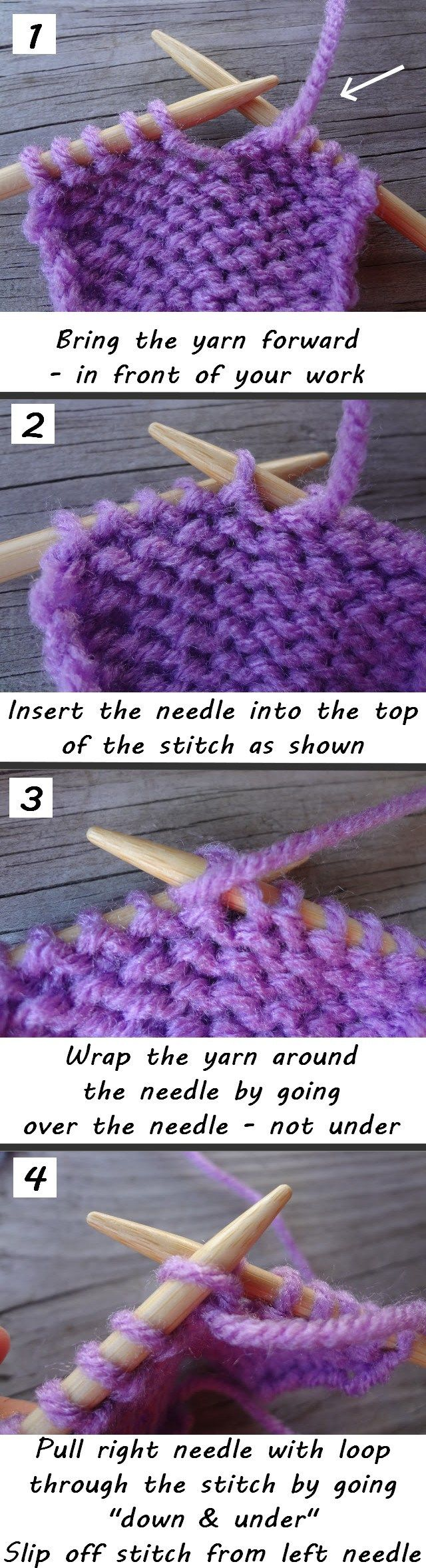 How to purl - a tutorial on how to knit the purl stitch, often used in a variety of knitting patterns.