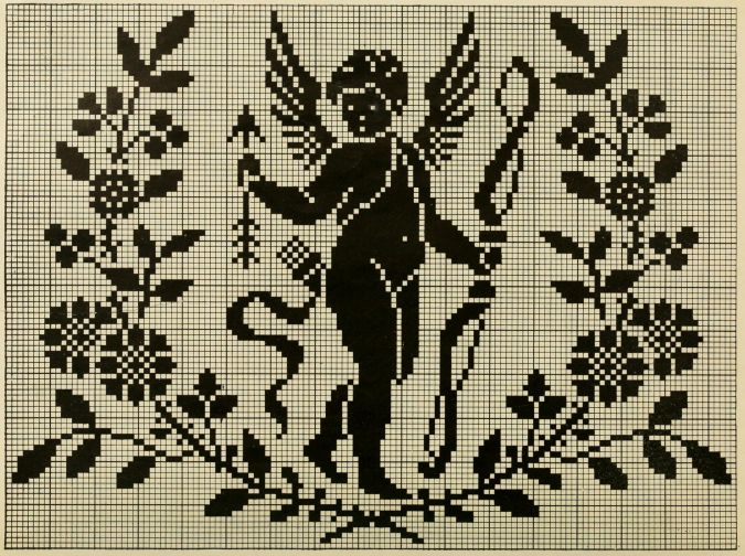 a very old Cupid cross stitch pattern