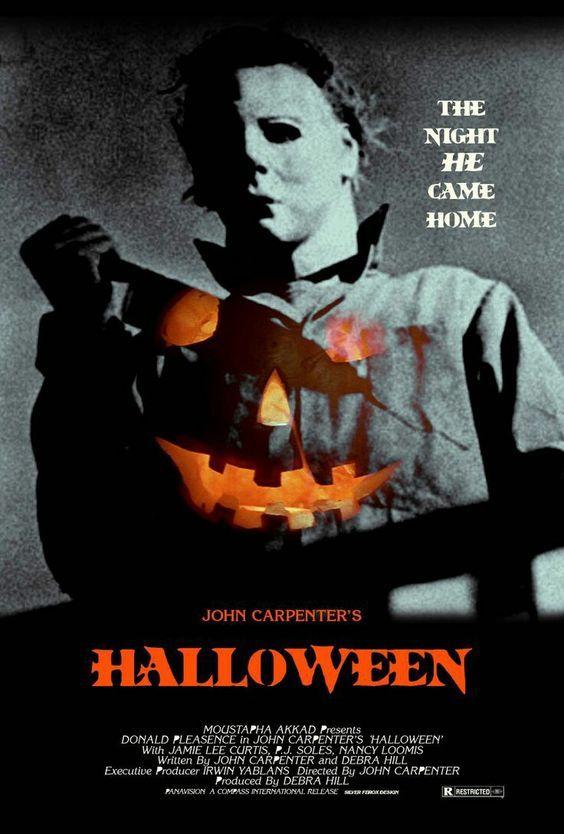 Pôster do filme Halloween, clássico do horror de John Carpenter. 10 filmes de terror fantásticos. O cinema disposto em todas as suas formas. Análises desde os clássicos até as novidades que permeiam a sétima arte. Críticas de filmes e matérias especiais todos os dias. #filme #filmes #clássico #cinema #ator #atriz