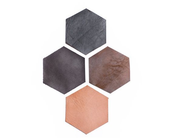 Leather Coasters : Hexagon Shaped Four Colors