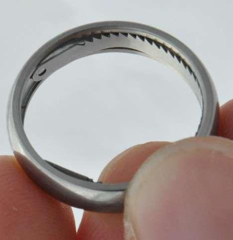 Concealed Cuff Cutter Jewelry - The Titanium Escape Ring Hides a Handcuff Lock Pick