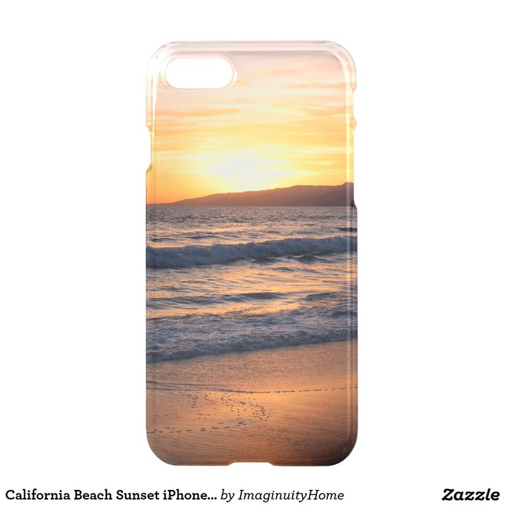 California Beach Sunset iPhone 7 Case: A beautiful sunset overlooking the beach in Santa Monica, California. This tranquil image of the Pacific Ocean and mountains in the background will be sure to brighten your day and make you long to return to the coast. A great way to enjoy and protect your new iPhone 7!