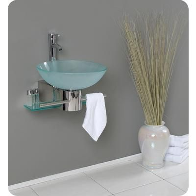 Fresca - Cristallino Modern Glass Bathroom Vanity With Frosted Vessel