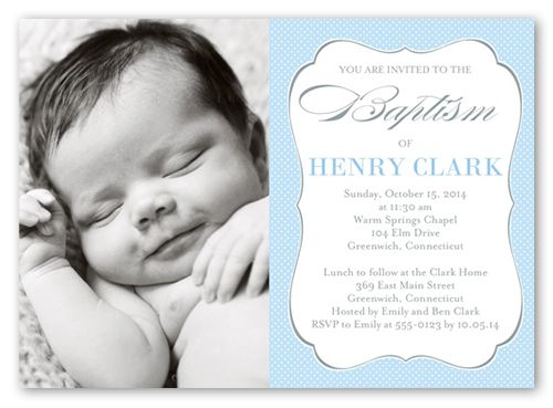 Lovely Script Boy 5x7 Invitation Card | Baptism Invitations