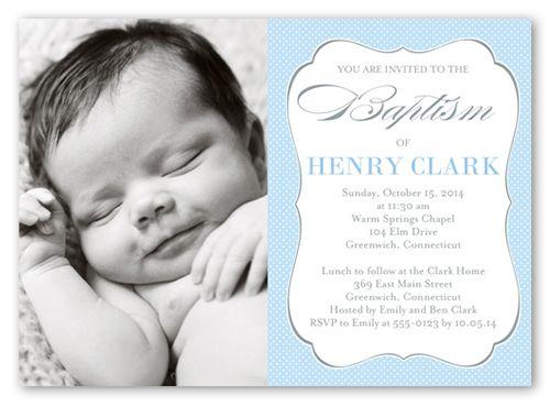 Lovely Script Boy 5x7 Invitation Card   Baptism Invitations