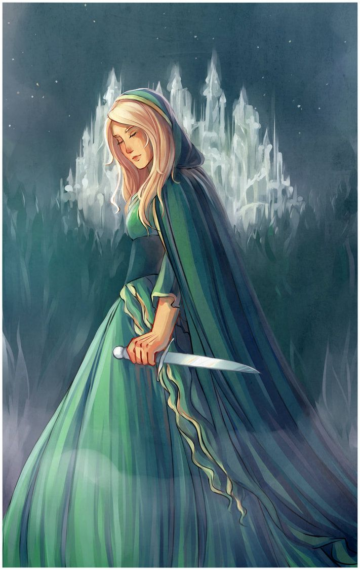 As stunning as her gown yet as deadly as that sharpened dagger in her hand.