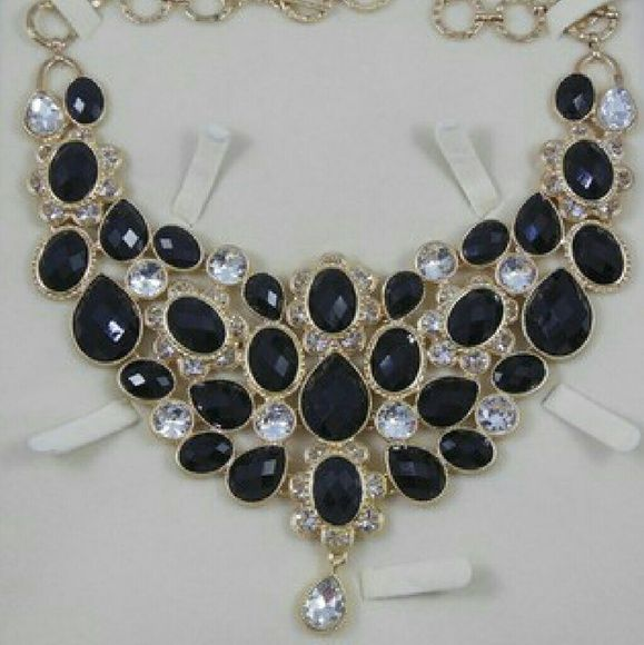 Amrita Singh Bib Necklace Brand new, never worn.  Gold tone brass with black resin stones and Australian crystals. Amrita Singh Jewelry Necklaces