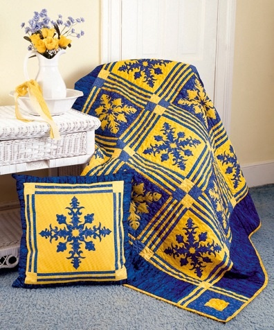 In Praise of Blue and Yellow Quilt Pattern YF-114 (intermediate, lap, wall hanging)