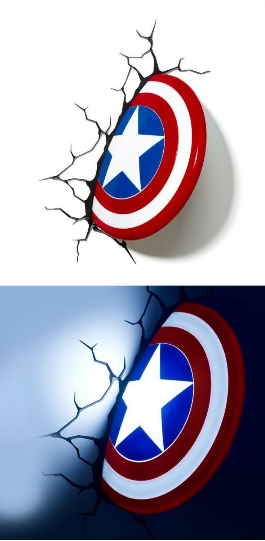 Philips Wandleuchte Captain America Schild Coole 3d Led Lampe Mit Wandsticker Fur Den 3d Effekt Tolle Wand Dekoration Fur Marvel Comics Marvel Superhelden
