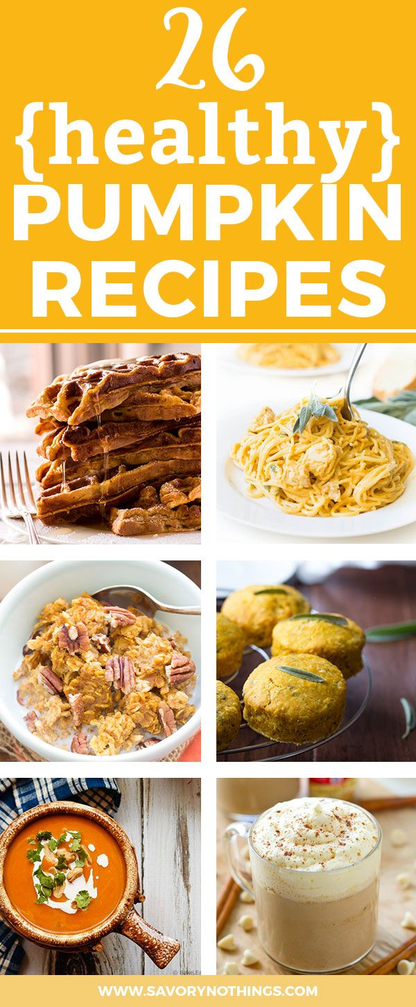 26 Healthy Pumpkin Recipes. Want to eat pumpkin at every meal of the day? No problem! These healthy, easy recipes all feature pumpkin (fresh and canned) - breakfast, lunch and dinner time. And there's even a healthy dessert included :)