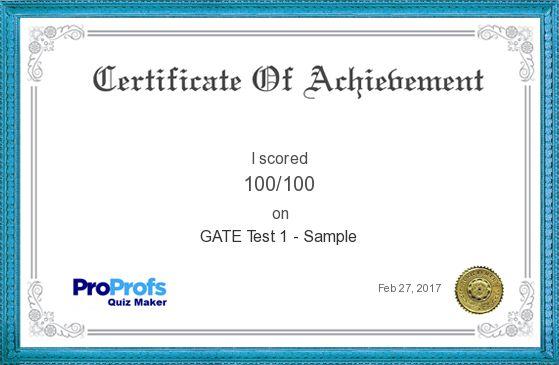 Score Report: GATE Test 1 - Sample at Free Online Quiz School