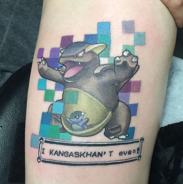 This Kangaskhan who probably uses Tumblr. | 21 Pokémon Tattoos That Are Cooler…