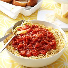 Homemade Meatless Spaghetti Sauce Recipe -When my tomatoes ripen, the first things I make are BLTs and this homemade spaghetti sauce. —Sondra Bergy, Lowell, Michigan