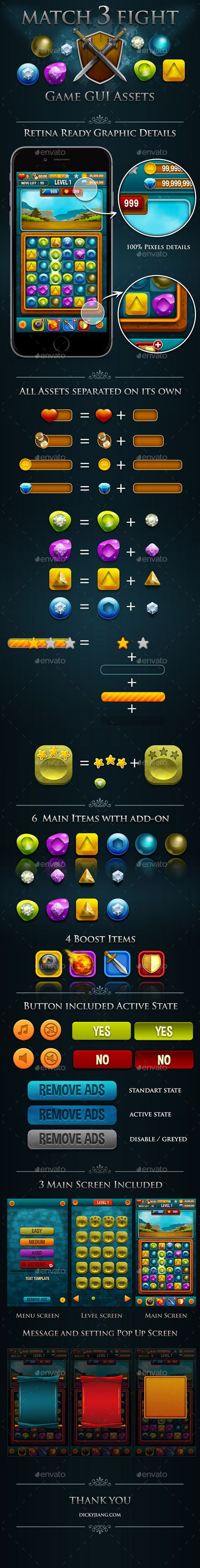 Match 3 Fight Puzzle Game  Kits and GUI Assets (Game Kits)