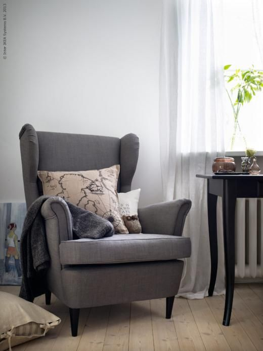 (ikea) strandmon wing chair in gray with matching ottoman for reading area. Navy one is also nice for living room next to sofa