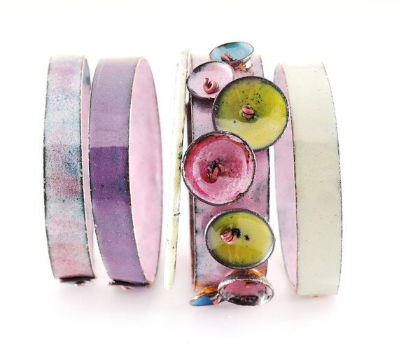 SUNSET   enameled bangles by OYRZANOWSKA on Etsy