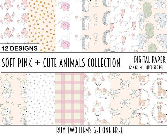 digital paper papers animals pink girl baby scrapbook
