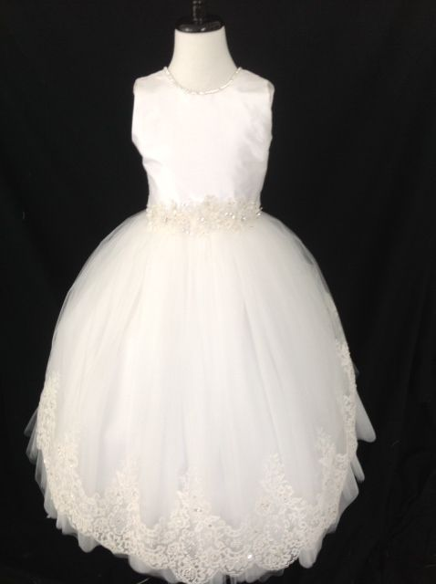 Diamond White Silk Lace First Holy Communion Dress - Christie Helene Couture Communion Dress - Kendall - Designer First Communion Dress UK Stockists