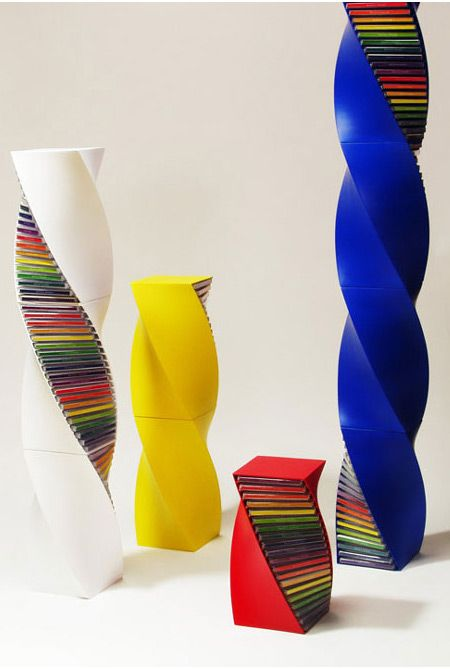 These CD racks are designed to mimic a DNA helix. You can choose them in different sizes and colors, and you can buy them online!