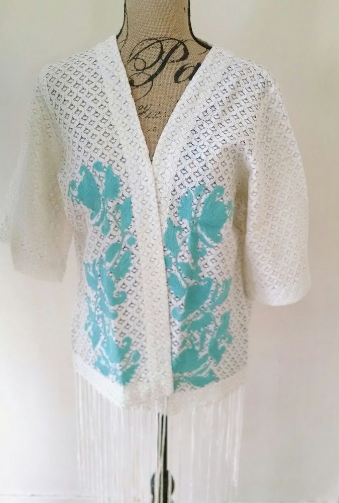 Crazy Train Steel Magnolia Southwestern Cream Turquoise Kimono Vest S-XL SALE!! #CrazyTrainClothingCo #Top #Casual
