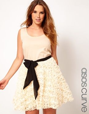 Curvy Girl Fashion - ASOS CURVE Party Dress With Rose Skater Skirt