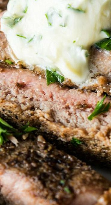Pan Seared Steak with Garlic Herb Butter
