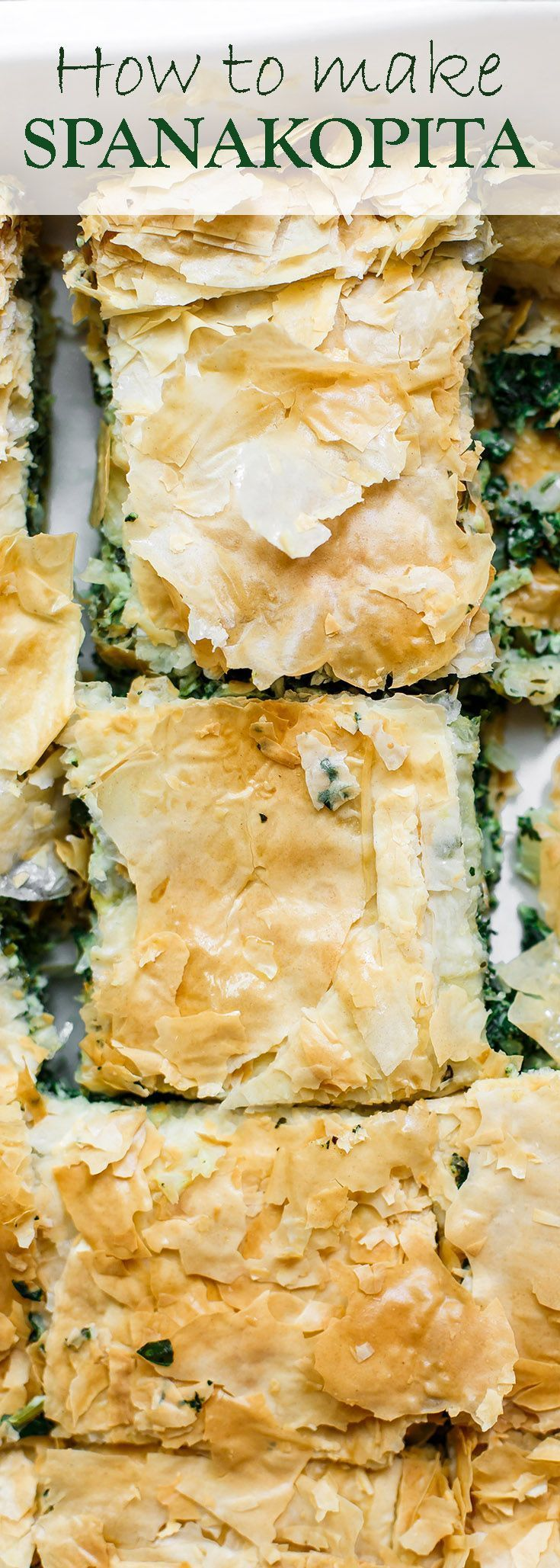 Spanakopita Recipe (Greek Spinach Pie)   The Mediterranean Dish. The best tutorial for how to make spanakopita. Greek spinach pie with crispy, golden phyllo and a soft filling of spinach, feta cheese, and herbs. A holiday recipe for make it for dinner! So easy. See it at http://TheMediterraneanDish.com