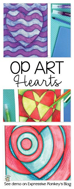 Op Art Hearts perfect art lesson Valentines Day! See the art techniques that make these hearts really pop! #ArtforKids #ArtProjectsForKids #ArtLesson #ArtEducation #AbstractArt #ArtEd #iteachart #ValentinesDayCraft