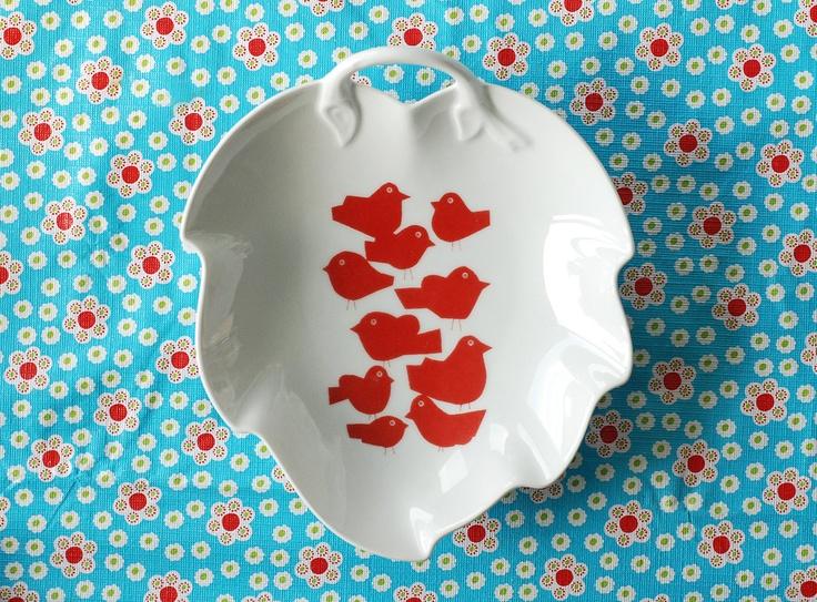 SALE Heart/leaf shaped flock of birds platter
