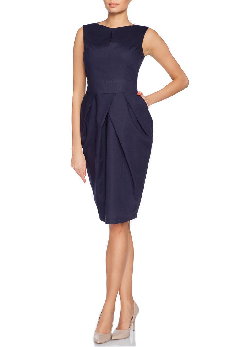 Best for those warm days - classy, natural and eco style Mon Amie navy blue linen dress